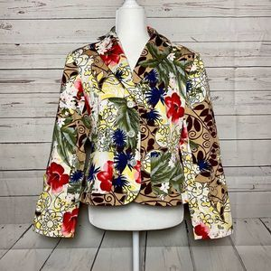 Leslie Fay Tropical Floral Blazer Tan Red Size 12